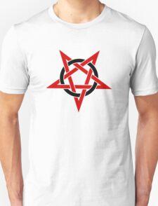 Upside Down Red Pentagram in Black Circle T-Shirt