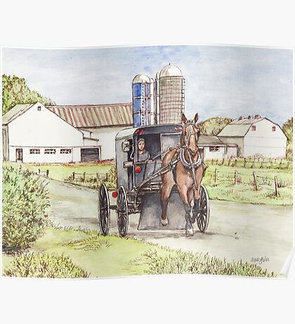 Amish Farm and Buggy Poster