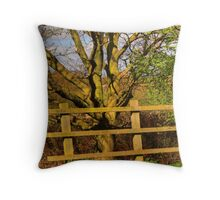 Fence and Tree Throw Pillow