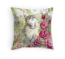 Kitten and the dragonfly Throw Pillow