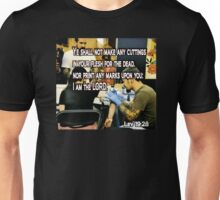LEVITICUS 19:28 ON YOUR MARKS Unisex T-Shirt
