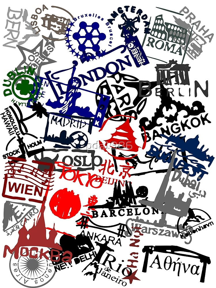 Travel Destination Passport Stamps by pda1986