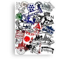 Travel Destination Passport Stamps Canvas Print