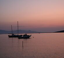 Boat moorings at sunset by Michelle Welch