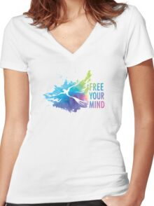 Free Your Mind - Dove Women's Fitted V-Neck T-Shirt