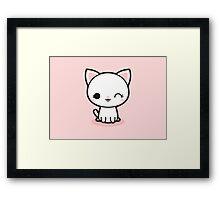 Kawaii white cat Framed Print