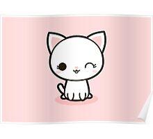 Kawaii white cat Poster