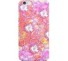Pink and Orange Watercolor with White Flowers iPhone Case/Skin