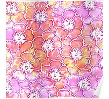 Pink and Orange Watercolor with White Flowers Poster