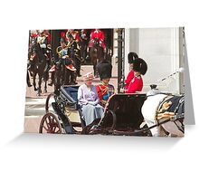 The Queen with Prince Phillip & Princess Anne Greeting Card