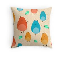 Cartoon funny hamsters Throw Pillow
