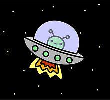 Cute alien in ufo in space by peppermintpopuk