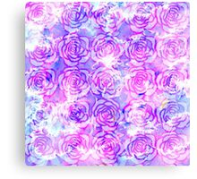 Pink, Purple, and Blue Floral Watercolor Pattern Canvas Print