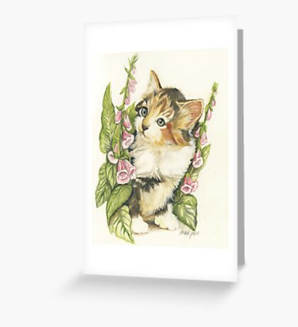 Flower Kitten Greeting Card