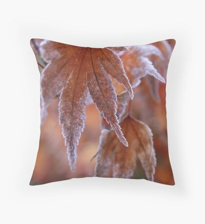 Frosted Maple Leaf Throw Pillow