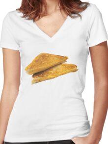 Grilled Cheeeeeeeeeeeese Women's Fitted V-Neck T-Shirt