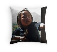 Children selling arm bands Throw Pillow