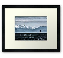 Strolling the Breakwater Framed Print