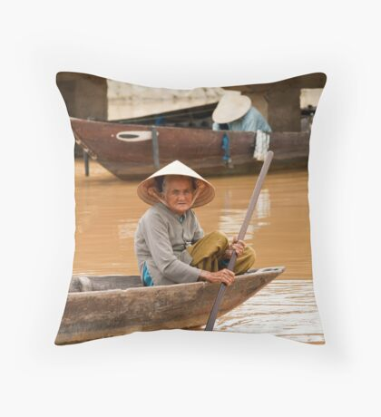 Typical Vietnamese boats Throw Pillow