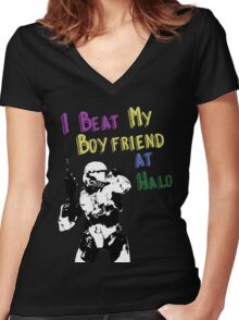 HALO I BEAT MY BOYFRIEND AT HALO Women's Fitted V-Neck T-Shirt