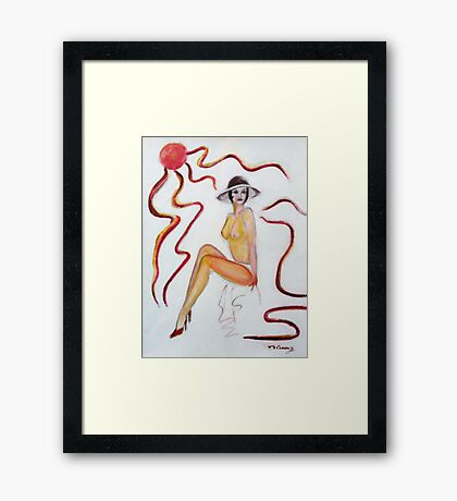 The Lady in Red High heels- classic vintage pinup art Framed Print