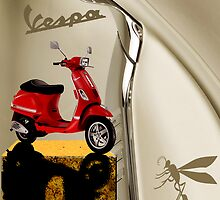 Red Vespa  Leather  Plus Wasp by Roydon Johnson