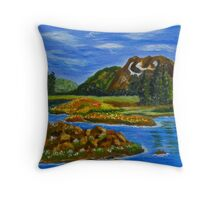 The Valley, impressionism mountain lake, wall art, home decor Throw Pillow
