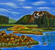 The Valley, impressionism mountain lake, wall art, home decor by artbykatsy
