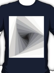 Monochrome Triangular Abstract Geometric Spiral  T-Shirt
