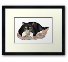 Unhappy Clam at High Tide Clasped by Kitten Framed Print