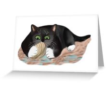 Unhappy Clam at High Tide Clasped by Kitten Greeting Card