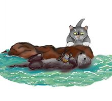 Sea Otter Nibbles on a Crab as Kitten Watches  by NineLivesStudio