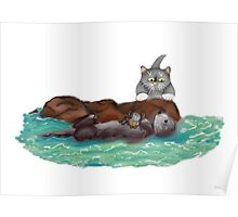 Sea Otter Nibbles on a Crab as Kitten Watches  Poster