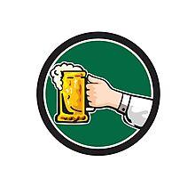 Hand Holding Mug Beer Circle Retro Photographic Print