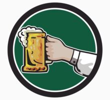 Hand Holding Mug Beer Circle Retro by patrimonio