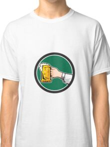Hand Holding Mug Beer Circle Retro Classic T-Shirt