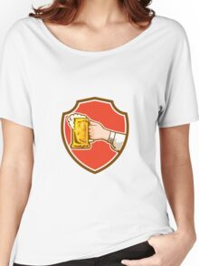 Hand Holding Mug Beer Crest Retro Women's Relaxed Fit T-Shirt