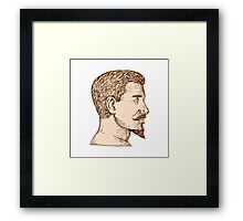 Male Goatee Side View Etching Framed Print