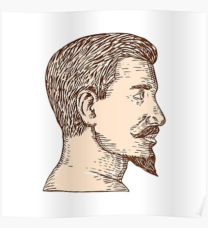Male Goatee Side View Etching Poster