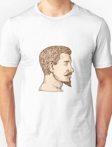 Male Goatee Side View Etching T-Shirt