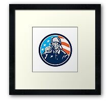 World War Two Soldier American Grenade Circle Woodcut Framed Print