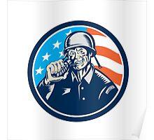 World War Two Soldier American Grenade Circle Woodcut Poster