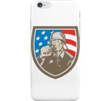 World War Two Soldier American Grenade Crest Woodcut iPhone Case/Skin