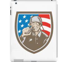 World War Two Soldier American Grenade Crest Woodcut iPad Case/Skin