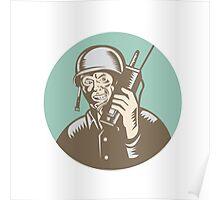 World War Two Soldier American Talk Radio Circle Poster