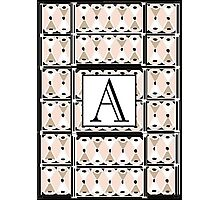 1920s Pink Champagne Gatsby Monogram letter A Photographic Print