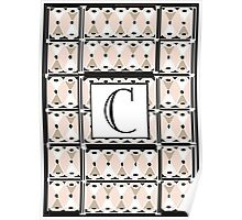 1920s Pink Champagne Gatsby Monogram letter C Poster