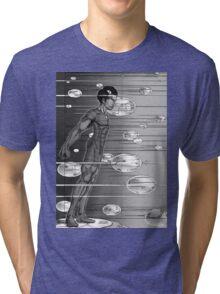 Graphic Novel Image - Robbie Digital enters the information super highway Tri-blend T-Shirt