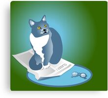 Jack Cat Reads The News Tee Canvas Print