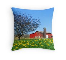 Red Country Barn Throw Pillow